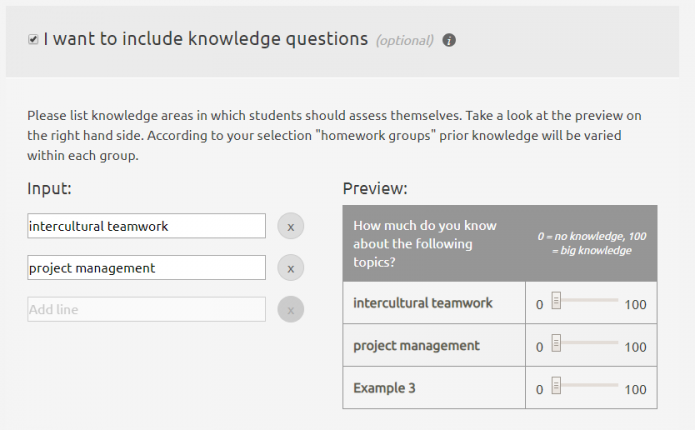 Screenshot of group formation activity (teacher setting prior knowledge questions)