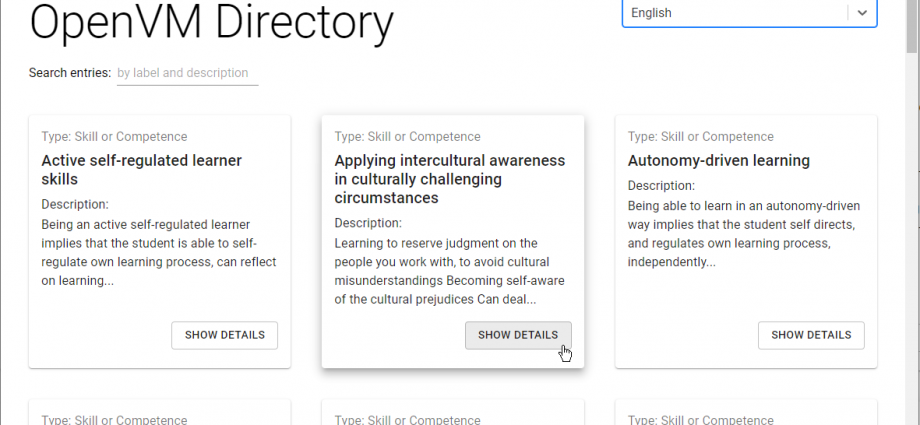 screen of the web interface (competency directory)